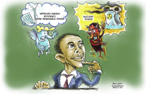 Cartoon: Nuclear or not (medium) by bennaccartoons tagged power,nuclear,obama