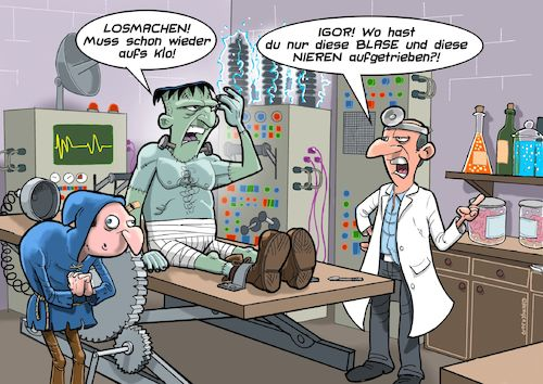Cartoon: Kleine Blase (medium) by C Berger tagged frankenstein,monster,blase,pinkeln,igor,frankenstein,monster,blase,pinkeln,igor