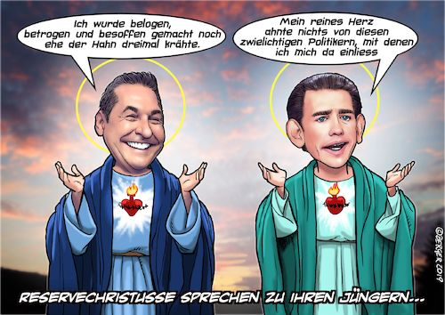 Cartoon: Ösi-Reservechristusse (medium) by C Berger tagged neuwahlen,lügen,poiltik,supergau,kurz,strache,rechtsregierung,ibizagate,neuwahlen,lügen,poiltik,supergau,kurz,strache,rechtsregierung,ibizagate