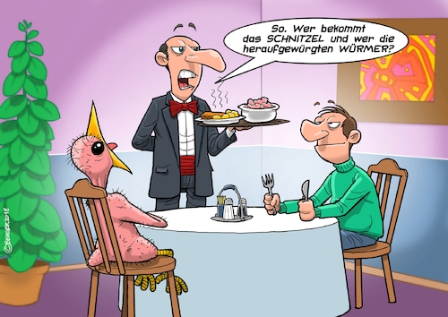 Cartoon: Würmer (medium) by C Berger tagged vogel,würmer,restaurant,kellner,schnitzel,fütterung,jungvogel,vogel,würmer,restaurant,kellner,schnitzel,fütterung,jungvogel
