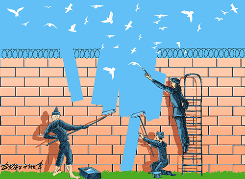Cartoon: Wall (medium) by Vladimir Khakhanov tagged desire