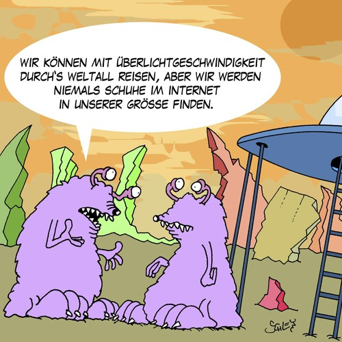 Cartoon: Ausserirdisch (medium) by Karsten tagged science,fiction,aliens,weltraum,raumschiffe,ausserirdische,onlineshopping,shopping,schuhe,mode,science,fiction,aliens,weltraum,raumschiffe,ausserirdische,onlineshopping,shopping,schuhe,mode