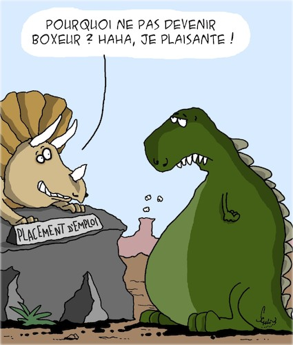 Cartoon: Carriere (medium) by Karsten tagged sports,boxe,professions,consultants,dinosaures,animaux,sports,boxe,professions,consultants,dinosaures,animaux