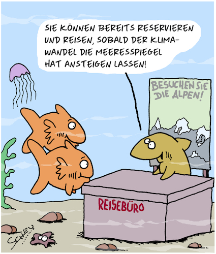 Cartoon: Gute Reise! (medium) by Karsten tagged reisen,tourismus,natur,umwelt,meeresspiegel,klimawandel,tiere,gesellschaft,reisen,tourismus,natur,umwelt,meeresspiegel,klimawandel,tiere,gesellschaft