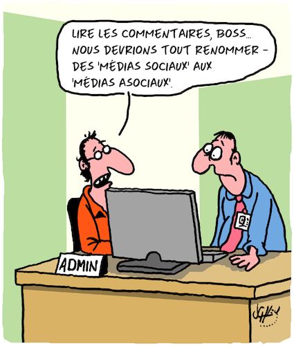Cartoon: Les Medias Sociaux (medium) by Karsten tagged medias,ordinateurs,attitudes,societe,politique,commentaires,insultes,democratie,medias,ordinateurs,attitudes,societe,politique,commentaires,insultes,democratie