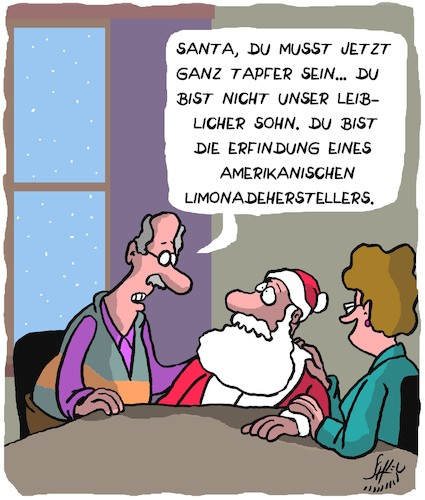 Cartoon: Tapfer (medium) by Karsten tagged weihnachtsmann,weihnachten,mythen,glaube,familien,adoption,mütter,väter,nahrungmittelindustrie,kapitalismus,usa,cola,business,wirtschaft,werbung,marketing,weihnachtsmann,weihnachten,mythen,glaube,familien,adoption,mütter,väter,nahrungmittelindustrie,kapitalismus,usa,cola,business,wirtschaft,werbung,marketing
