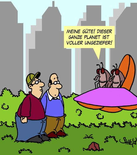 Cartoon: Ungeziefer (medium) by Karsten tagged raumfahrt,tiere,insekten,ausserirdische,aliens,technik,menschen,gesellschaft,raumfahrt,tiere,insekten,ausserirdische,aliens,technik,menschen,gesellschaft