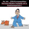 Cartoon: DAS geht ja gut los... (small) by Karsten tagged innenpolitik,koalitionen,europapolitik,hermann,winkler,cdu,afd,demokratie