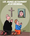 Cartoon: La jeunesse et la religion (small) by Karsten tagged jeunesse,religion,greta,thunberg,environnement,medias,politique