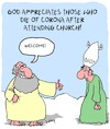 Cartoon: Welcome! (small) by Karsten tagged god,religion,christianity,belief,coronavirus,death,churches,social,issues,politics
