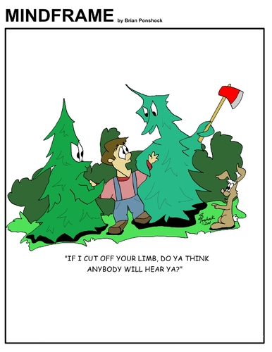 Cartoon: MINDFRAME (medium) by Brian Ponshock tagged woods,lumberjack,environment,trees