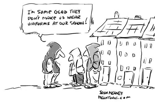 Cartoon: School Uniforms (medium) by John Meaney tagged school,uniform,dress,gang,hoodie