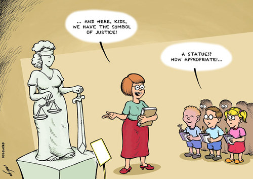 Cartoon: Blind Justice (medium) by rodrigo tagged justice,society,crime,trial,school,kids,professor,teacher