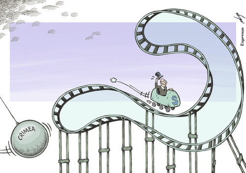 Cartoon: Crimean rollercoaster (medium) by rodrigo tagged markets,trust,finance,business,world,annexation,referendum,ukraine,russia,crimea