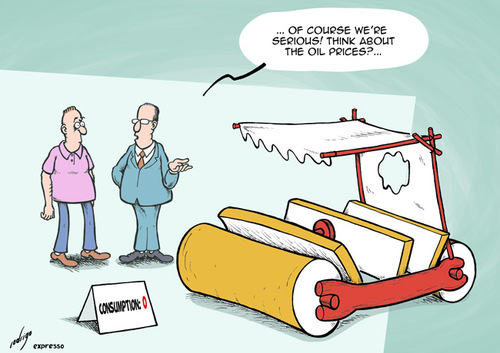 Cartoon: High fuel prices (medium) by rodrigo tagged oil,fuel,price,car,transport,pollution,economy,crisis,opec