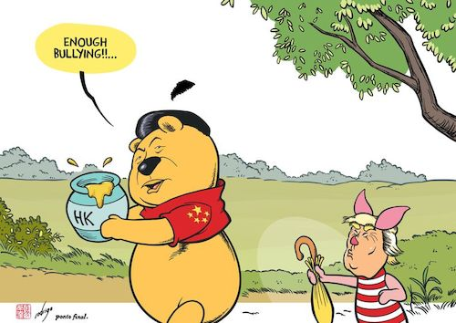 Cartoon: Honey Kong (medium) by rodrigo tagged hong,kong,usa,china,washington,beijing,protest,law,politics,international,trade,war,freedom,xi,jinping,trump,winnie,the,pooh,piglet