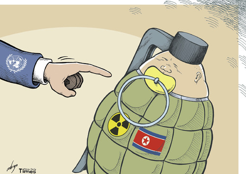 Cartoon: Kimbustion (medium) by rodrigo tagged north,korea,kim,jong,un,death,nuclear,war,pyongyang,seoul,usa,program,satellite,rocket,launch,united,nations