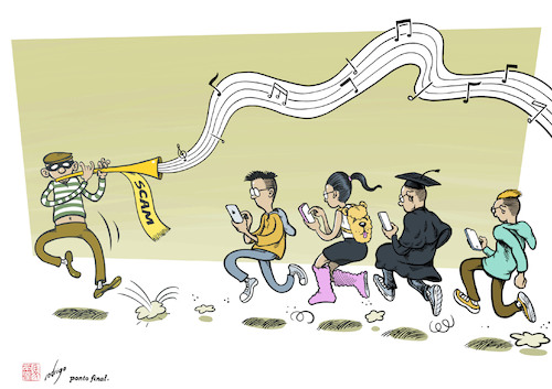 Cartoon: Phony calls (medium) by rodrigo tagged crime,phone,scam,con,artists,fraud,youth,college,students,society,education
