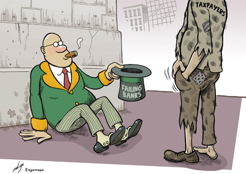Cartoon: Poor banks! (medium) by rodrigo tagged banks,help,bailout,bankruptcy,taxpayers,economy