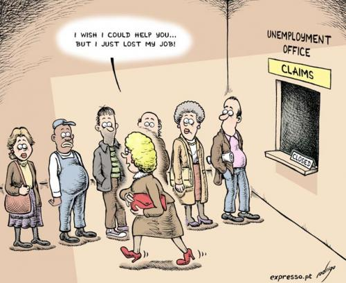 Cartoon: The firing epidemic (medium) by rodrigo tagged unemployment,work,society,economy,editorial,cartoon