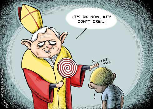 Cartoon: The sweet penitence (medium) by rodrigo tagged pope,catholic,church,priests,pedophilia,children,religion