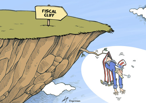 Cartoon: US Fiscal Cliff (medium) by rodrigo tagged usa,united,states,economy,fiscal,cliff,taxes,president,barack,obama,democratic,party