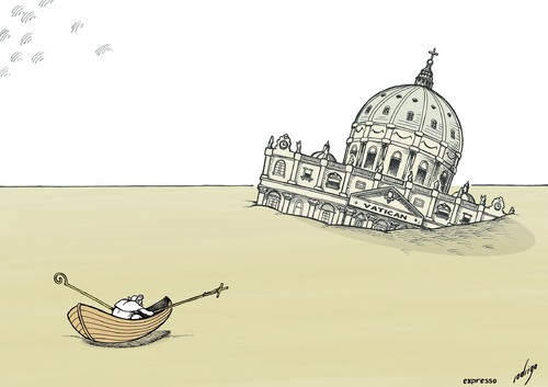 Cartoon: Worshipwreck (medium) by rodrigo tagged pope,benedict,xvi,catholic,church,religion,vatican