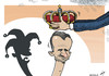 Cartoon: Spanish Monarcomedy (small) by rodrigo tagged spain,king,crown,prince,felipe,burbon,monarchy,republicans