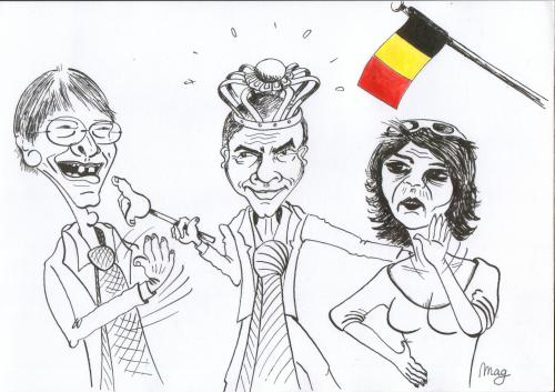Cartoon: Our Belgian leaders (medium) by Mag tagged politics,leaders,belgium,land,media,famous,people