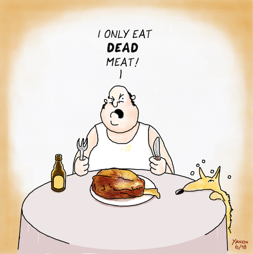 Cartoon: Meat (medium) by Yavou tagged cartoon,dead,meat,yavou,nutrition,carnivore,table,overweight,cartoon,dead,meat,yavou,nutrition,carnivore,table,overweight
