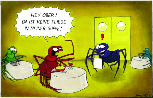 Cartoon: Spinnen-Dinner (medium) by Yavou tagged