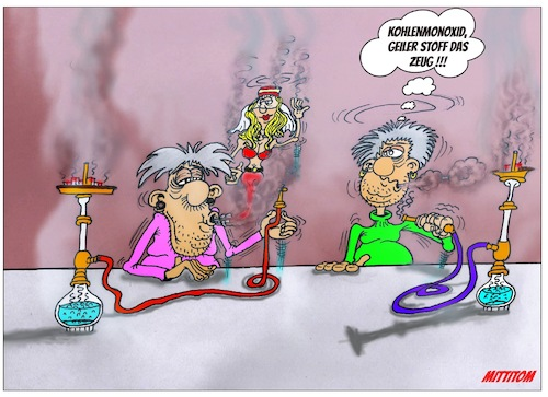 Cartoon: Gestern in der Shisha Bar (medium) by Mittitom tagged wasserpfeife,rauchen,rauch,shisha,bar