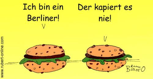Cartoon: Ich bin ein Berliner (medium) by benno tagged berliner,hamburger