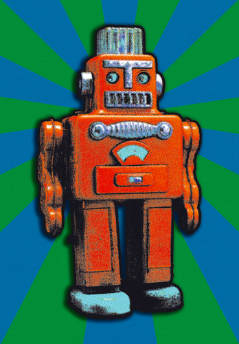 Cartoon: RED TIN ROBOT (medium) by zellaby tagged tin,robot,zellaby,collage,toy