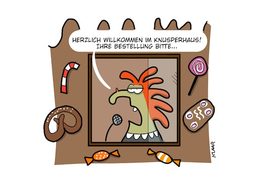 Cartoon: Knusperhaus (medium) by naklaar tagged renteneintritt,altersarmut,umverteilung,alte,menschen