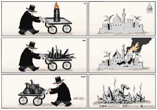 Cartoon: imperialism and capitalism (medium) by Mikail Ciftci tagged imperialism,capitalism,usa,middle,east,mikail