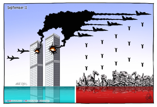 Cartoon: September 11 (medium) by Mikail Ciftci tagged september11,usa,islamicgeography,mikailciftci,war