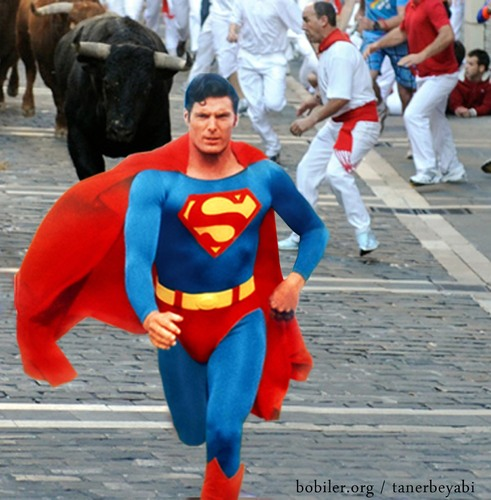 Cartoon: superman (medium) by tanerbey tagged red,cloak,bull,superman