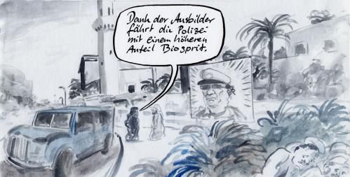 Cartoon: Ausbilder (medium) by Bernd Zeller tagged ausbilder,biosprit,libyen,