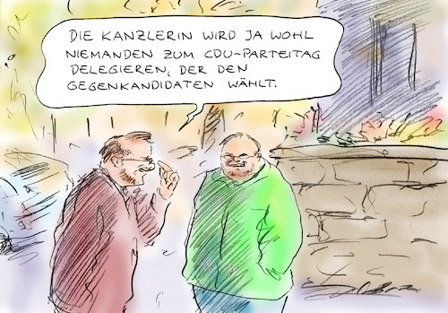 Cartoon: Aussichtslose Kandidatur (medium) by Bernd Zeller tagged merkel