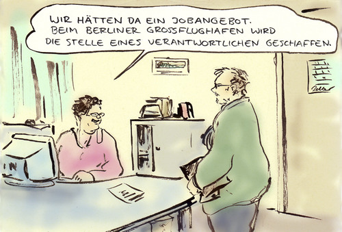 Cartoon: BER (medium) by Bernd Zeller tagged ber,flughafen,airport,berlin,brandenburg,wowereit,platzeck