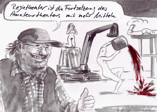Cartoon: Definition (medium) by Bernd Zeller tagged subventionen,theater,regietheater,definitionen