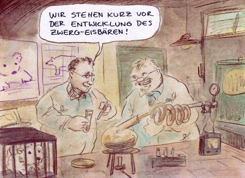 Cartoon: Genforscher (medium) by Bernd Zeller tagged genetik,gentechnologie,eisbär,genetics,