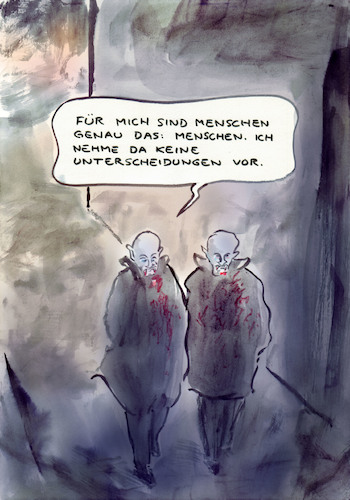 Cartoon: Humanitär (medium) by Bernd Zeller tagged mensch