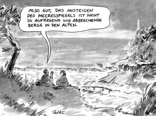 Cartoon: Katastrophentourismus (medium) by Bernd Zeller tagged klimawandel,co2,alpen,meer,ocean