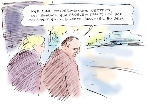 Cartoon: Mindermeinung (medium) by Bernd Zeller tagged freiheit