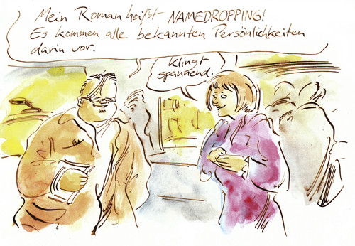 Cartoon: Namedropping (medium) by Bernd Zeller tagged autor,namedropping,verlag,bücher,literatur,buch