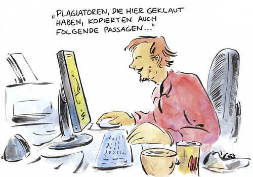 Cartoon: Netter Service (medium) by Bernd Zeller tagged service,plagiat,kopieren,guttenberg