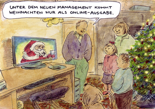 Cartoon: Neues Management (medium) by Bernd Zeller tagged weihnachten,xmas,online,internet