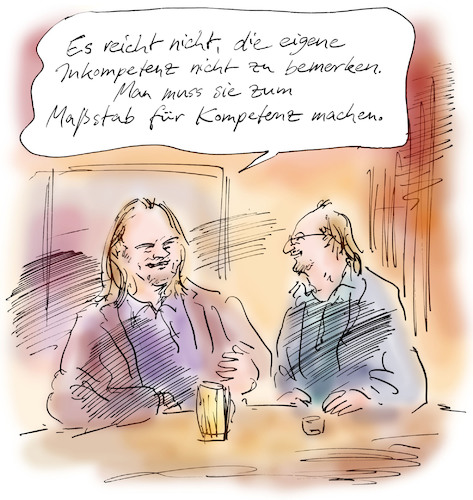 Cartoon: Normierungseffekt (medium) by Bernd Zeller tagged kompetenz